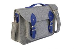 Grey felt laptop bag with blue leather : for my man