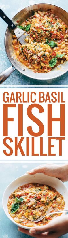 Garlic Basil Barramundi Skillet with Tomato Butter Sauce! SO YUMMY and super easy, with basic ingredients like garlic, basil, tomatoes, white beans, Parmesan, and white fish. Perfect with a green salad and crusty bread. | Pinch of Yum