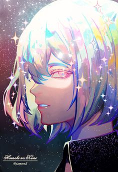 I discovered the anime Houseki no Kuni not so long ago, and I think it's my favourite anime of this season. Dia - Houseki no Kuni Anime Art Girl, Manga Art, Anime Guys, Manga Anime, Pretty Art, Cute Art, Dibujos Tumblr A Color, Character Art, Character Design
