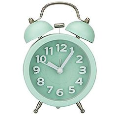 """PiLife 3"""" Mini Non-ticking Vintage Classic Bedside Alarm Clock with Backlight, Battery Operated Travel Clock, Twin Bell Loud Alarm Clock( 3D Green)"""
