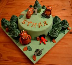 My Gruffalo Cake with cupcake trees Julia Donaldson Books, Gruffalo Party, Boy Birthday, Birthday Cake, Cupcake Tree, Christening Cakes, Novelty Cakes, Cake Ideas, First Birthdays