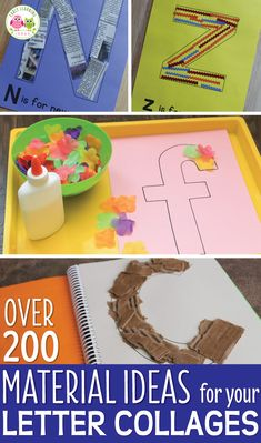 Use letter activities like letter collages or letter mats to teach letter identification and reinforce letter-sound associations. Here are over 200 material ideas that you can use for your collages or letter mats. A printable reference list is included. Pre K Activities, Letter Activities, Children Activities, Letter Identification Activities, Teaching Letters, Preschool Letters, Teaching Letter Recognition, Literacy Work Stations, Letter Collage