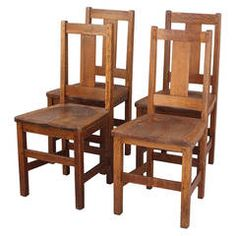 Set of Four Signed Arts and Crafts Limbert Chairs