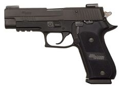 This Sig is in great condition. It is the Dark Elite version of the P220 .45acp. It features checkered aluminum grips, TFO sights, SRT trigger, front and rear cocking serrations, check