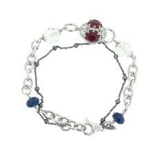 ROMA modisches Silberarmband 45,- Euro  #princesslioness #silberschmuck #silberarmband #elegant #allrounder #rotesteine #blauesteine