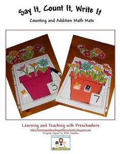 Say It, Count It, Write It Free Flower Math Mats. Counting and addition math games