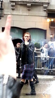 Sam Heughan (Outlander's Jamie Fraser) as Grand Marshal at New York City's rainy and damp Tartan Day Scottish Parade, April 9, 2016