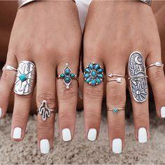 9PCS Vintage Bohemian Beach Turquoise Women Ring Set Ethnic Style Antique Silver Plated Midi Finger Boho Rings Set Charm Anelli