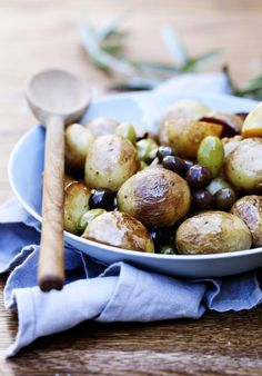 Baby Baked Potatoes & Olives with a Herb Olive Oil Dressing
