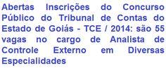 O Tribunal de Contas do Estado de Goiás - TCE/GO, torna público que fará realizar Concurso Público para o provimento de 55 (cinquenta e cinco) vagas no cargo de Analista de Controle Externo em Diversas Especialidades de Nível Superior pertencentes ao Quadro de Pessoal do Tribunal. A remuneração comum a todas as especialidades será de: R$ 7.018,03 (sete mil dezoito reais e três centavos).