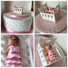 Fondant Baby Girl With Fondant Cot Fondant Baby, Fondant Cakes, Ring Cake, Homemade Cakes, Cot, Baby Shower, Creative, Cute Babies, Bebe