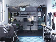 TUFFING hoogslaper | IKEA IKEAnl IKEAnederland bed bedframe slaapkamer studentenkamer kinderkamer student studeren KNOPPARP bank zitbank grijs inspiratie wooninspiratie interieur wooninterieur FINNBY boekenkast