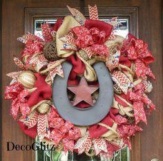 Burlap WESTERN HORSESHOE Wreath with LIGHTS by decoglitz on Etsy
