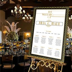 Personalised Wedding Table Seating Plan-GATSBY-ART DECO-WHITE- A1-A2-A3