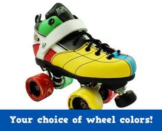 Rock Explosion Quad Speed Roller Skates-For those who love color, you just can't go wrong with these attention-grabbers -Skaters love using these head turning skates for rink skating, speed and jam skating, and roller derby -Featuring an adjustable toe stop and velcro power strap, choose your color of the Rock Twister Swirl wheels