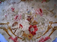 ANTIQUE FRENCH AUTHENTIC  AUBUSSON VALANCE TAPESTRY PETITPOINT 19TH-CENTURY
