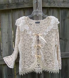 Cardigan refashion - Regina Moore took two cotton crocheted, thrifted sweaters and made this romantic piece