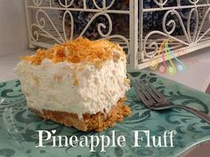Simple Fare, Fairly Simple: Pineapple Fluff--use GF cookies for crust Summer Desserts, Just Desserts, Delicious Desserts, Pineapple Fluff, Pineapple Express, Yummy Treats, Sweet Treats, Cake Recipes, Dessert Recipes