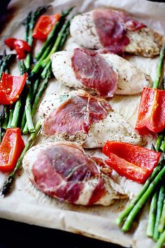 Prosciutto Wrapped Dijon Chicken recipe. Easy family dinner with healthy veggies on the side!