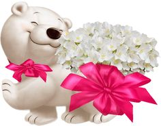 Teddy_weiß_Blumen Happy Birthday Celebration, Happy Birthday Wishes Cards, Birthday Messages, Birthday Images, Animated Polar Bear, Polar Bear Images, Snoopy Birthday, Emoji Images, Random Gif