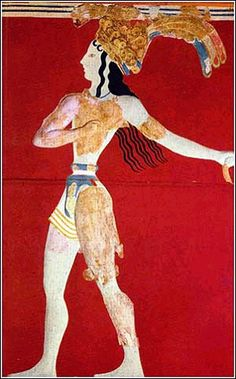 The Prince of Lilies is from one of the large frescoes at the palace of Knossos. The fresco demonstrates the fluidity of movement and naturalism of Minoan art between 1700 and 1400 BCE.