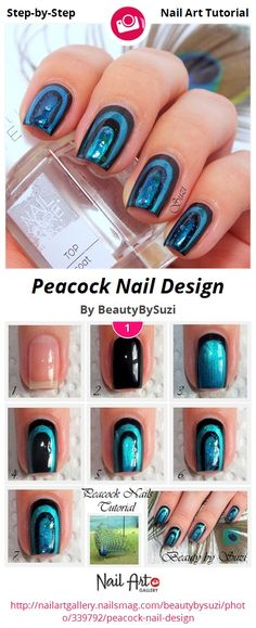 Peacock Nail Design by BeautyBySuzi - Nail Art Gallery Step-by-Step Tutorials nailartgallery.nailsmag.com by Nails Magazine www.nailsmag.com #nailart