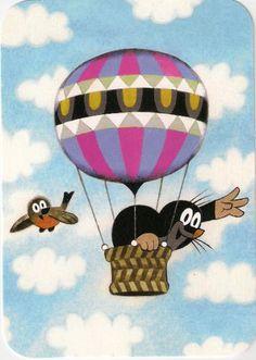 Zdenìk Miler Josef Brukner: A kisvakond utazik Balloon Illustration, Illustration Art, La Petite Taupe, The Mole, Animal Magic, Kids Store, Hot Air Balloon, Vintage Children, All Art