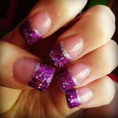 Pictures of acrylic nails purple tips - Purple Acrylic Nails, Gold Nails, Purple Glitter, Glitter Acrylics, Pink Purple, Fancy Nails, Cute Nails, Pretty Nails, Prom Nails