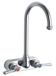 """Chicago Faucets 521-GN2AE1ABCP - 4"""" Center Backsplash Mounted Hand Sink Faucet"""
