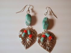Coral and Turquoise Leaf Drops. Starting at $7 on Tophatter.com!
