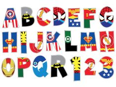 Superhero Alphabet poster and letter pack Digital File Superhero Alphabet, Superhero Clipart, Superhero Classroom, Alphabet Letters, Superhero Party Bags, Superhero Party Decorations, Superhero Birthday Party, Fourth Of July Crafts For Kids, Avengers Birthday