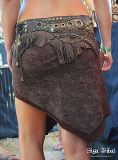 BROWN Leather Skirt Gypsy Jungle Tribal Fringe by SigaTribal