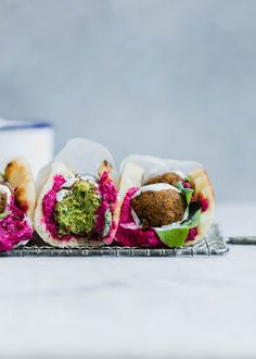 Pita Bread with Green Falafel, Spinach, Garden Herbs, Beet Hummus and Yogurt | Foodlicious: Vegetarian Lunch
