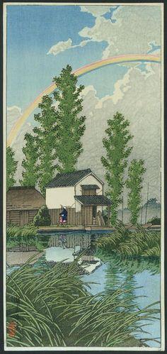Kawase Hasui: Summer in Itako — Itako no natsu - Japanese Art Open Database Japanese Art Prints, Japanese Painting, Art Occidental, Japanese Woodcut, Hokusai, Art Asiatique, Art Japonais, Korean Art, Alphonse Mucha