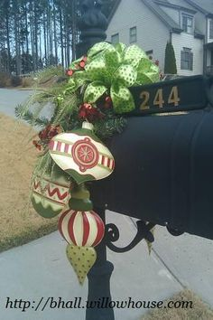One of my fave Christmas ideas for mailbox with our Holiday Hanging Trio on each side http://bhall.willowhouse.com
