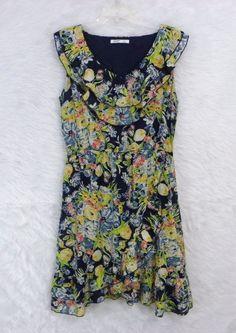 Womens OLD NAVY Floral Cotton Ruffled Asymmetrical Hem Lined Dress SZ Large Tall #OldNavy #EmpireWaist #Casual