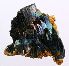 Iridescent Ferberite with Siderite - Portugal