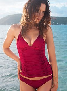 Ruched Panel Tankini - Raspberry By Voda