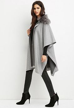 Faux Fur-Collar Poncho | Forever 21 - 2000165205