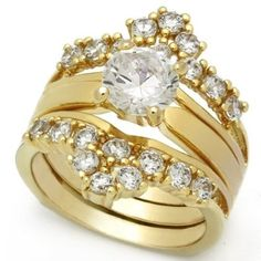 1.25 Carat CZ Gold Plating Engagement Wedding Ring Set