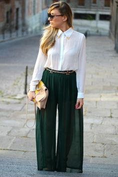 Palazzo Pants With Long Shirts Trends 2014. #palazzopants, #palazzotrouser, #palazzodesigns, #westernclothing