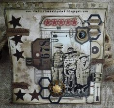 Friends Together Forever - Tim Holtz; Found Relatives - by Kaz Hall at The Little Shabby Shed Photo Wall Hanging, Grunge, Steampunk, Heritage Scrapbooking, Vintage Scrapbook, Scrapbook Layouts, Shabby, How To Age Paper, Types Of Craft
