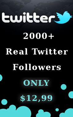 We will get you 2000+ real,unique Twitter followers within 48hours. All are HIGH QUALITY TWIITER FOLOWERS from around the world & Guaranteed real people, no bots, no tricks. Features HIGH QUALITY TWIITER FOLOWERS 100% SATISFACTION GUARANTEED MONEY BACK GUARANTEE (if you not satisfy with the work) Level Two Seller Very High Quality Work Deliver with Very Clear Proof This is amazing service you haven't seen before.This will really help to become your site famous.