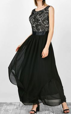 Gamiss Sleeveless Lace Panel Asymmetric Dress via @bestmaxidress