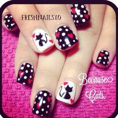Polka dot gel nails | cat nails | because cats | hearts