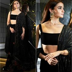 Alia Bhatt In A Black Floral Embroidered Lehenga By Bhumika Call/WahtsApp for Customised Purchase : Choli Designs, Lehenga Designs, Indian Lehenga, Black Lehenga, Floral Lehenga, Lehenga Choli, Indian Wedding Outfits, Indian Outfits, Pakistani Outfits