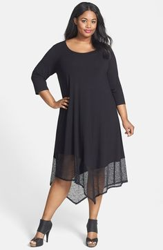 ae0bac1cc5d Eileen Fisher Lace Hem Scoop Neck Jersey Shift Dress (Plus Size)
