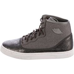 Pre-owned Nike Air Jordan Embossed High-Top Sneakers ($125) ❤ liked on Polyvore featuring shoes, sneakers, grey, high top sneakers, nike trainers, canvas lace up sneakers, nike sneakers and high top canvas shoes