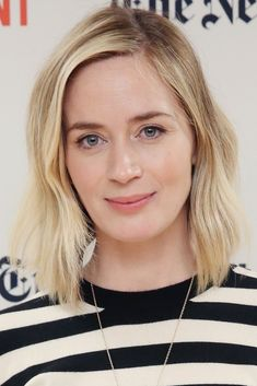These Celebrities Look SO Different After Dyeing Their Hair #refinery29 http://www.refinery29.com/2016/12/133809/celebrity-hair-color-before-after#slide-25 Emily BluntA super pale beige-blonde looks soft and naturally pretty on Emily Blunt....