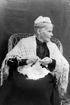 Anna Maria Williams, seated in a chair knitting.  Napier, Hawke's Bay, c. 1920  National Library of New Zealand. Via knitsofacto: Vintage Photos